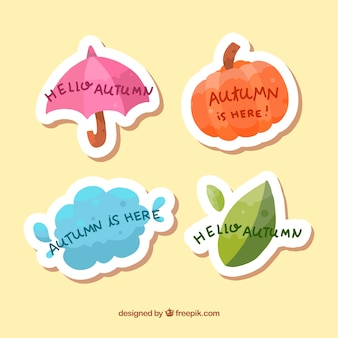 Urocza kolekcja jesień etykiety z płaskiej konstrukcji