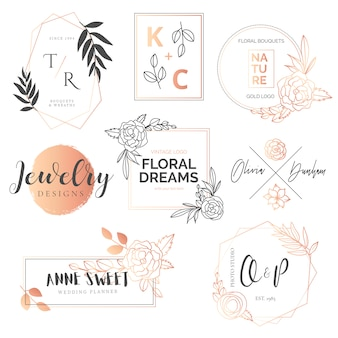 Urocza kolekcja kwiatów i złotych logotypów