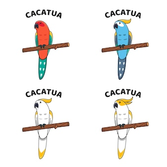 Urocza kolekcja maskotka ptak cacatua