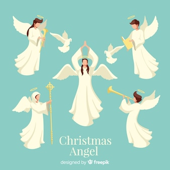 Urocza kolekcja postaci anioła boże narodzenie w płaskiej konstrukcji