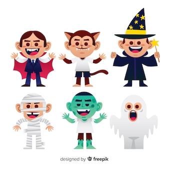 Urocza kolekcja postaci halloween z płaskiej konstrukcji