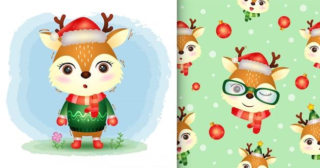 Urocza kolekcja świątecznych postaci z jelenia z czapką, kurtką i szalikiem. bez szwu wzorów i ilustracji