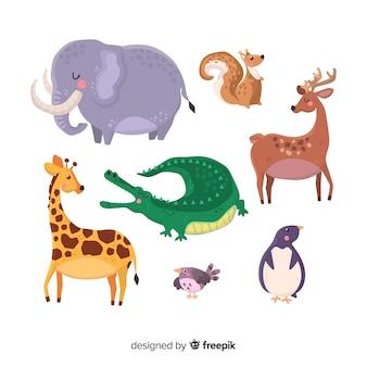 Urocza kolekcja zwierząt w ręku rysowane