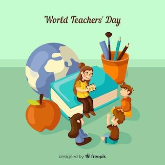 Urocza kompozycja dnia nauczyciele świata z płaskim wzorem
