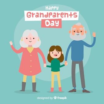 Urocza kompozycja dziadków z płaską stylistyką