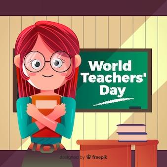 Urocza kompozycja na dzień nauczyciela świata z płaską stylistyką