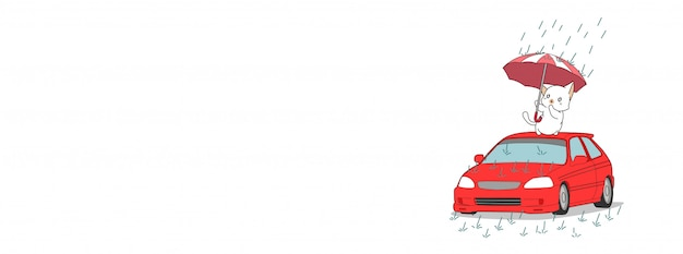 Urocza kot i ukochany samochód transparent