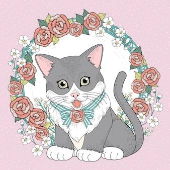 Urocza kotka do kolorowania z kwiatowym wiankiem w wykwintnej linii