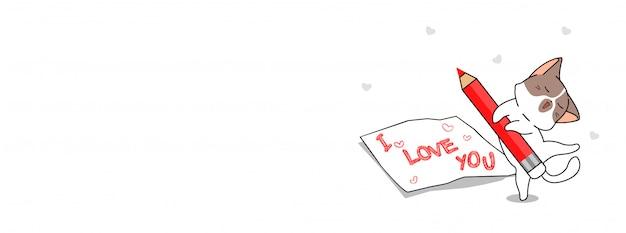 Urocza kotka napisała słowo kocham cię
