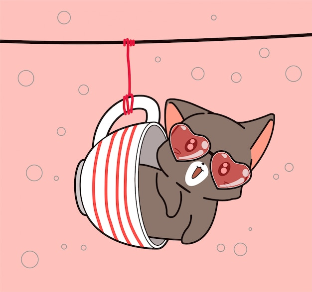 Urocza kotka w wiszącym kubku