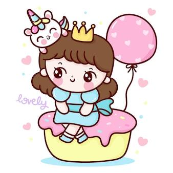Urocza kreskówka księżniczki i jednorożec siedzą na torcie urodzinowym z balonem w stylu kawaii