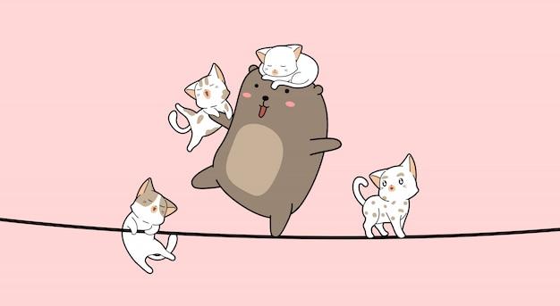 Urocza kreskówka niedźwiedź i koty na linie