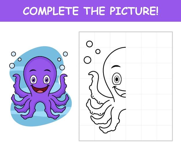 Urocza kreskówka ośmiornicy, uzupełnij obrazek
