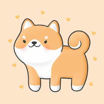 Urocza kreskówka pies shiba inu