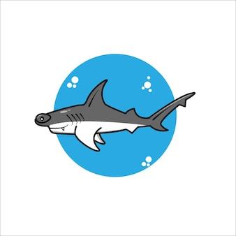 Urocza kreskówka rekina młotkowego