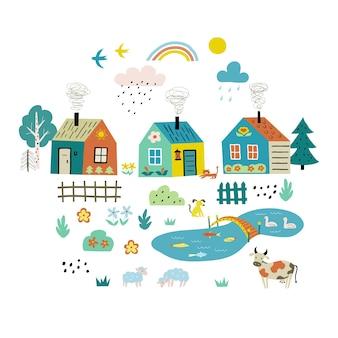 Urocza kreskówkowa wioska z wiejskimi domami, kwiatami, zwierzętami.