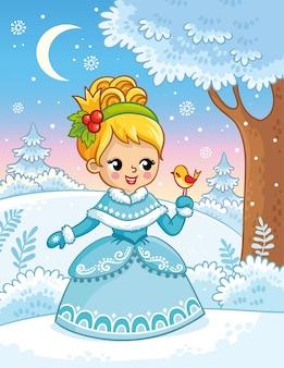 Urocza księżniczka w kreskówkowym stylu w śnieżnym lesie i trzymająca w rękach ptaka