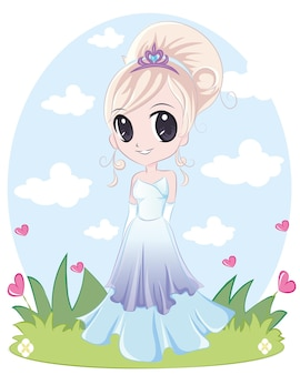Urocza księżniczka z długim warkoczem. dziewczyna z blond bułeczkami na sobie fioletową niebieską sukienkę.