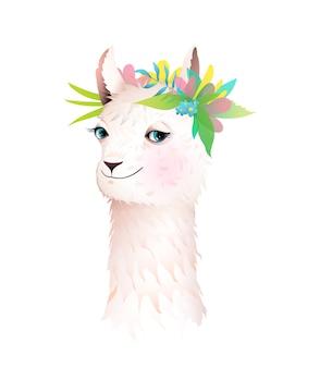 Urocza lama lub alpaka z kwiatami w koronie na głowie. ilustracja postaci zwierząt dla dzieci, kreskówka w stylu przypominającym akwarele.