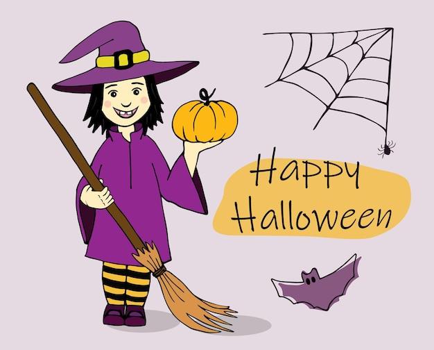 Urocza mała czarownica, szczęśliwy transparent halloween. narysowana wiedźma z dynią w dłoni