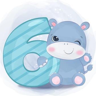 Urocza mała ilustracja hipopotama w akwareli