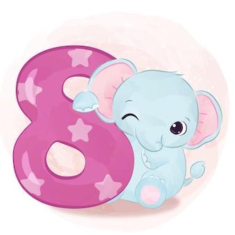 Urocza mała ilustracja słonia w akwareli