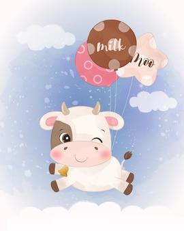 Urocza mała krowa ilustracja w akwareli