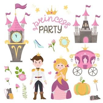 Urocza mała księżniczka kopciuszek ustawia przedmioty. kolekcja z ładną dziewczyną, księciem, powozem, zegarkiem, lustrem, akcesoriami.