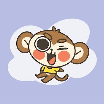 Urocza mała małpa chłopiec maskotka doodle ilustracja