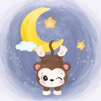 Urocza mała małpka ilustracja w akwareli