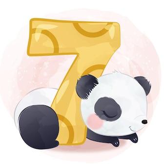 Urocza mała panda ilustracja w akwareli