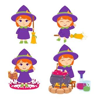 Urocza mała ruda wiedźma z miotłą, kapeluszem, księgą zaklęć, różdżką i garnkiem. czarodziejka warzenia eliksirów. zestaw elementów na halloween. na białym tle.