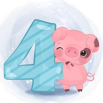 Urocza mała świnia ilustracja w akwareli