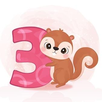 Urocza mała wiewiórka ilustracja w akwareli