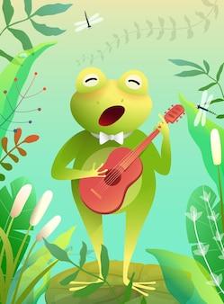 Urocza mała żaba grająca w quitar lub śpiewająca piosenkę stojąca na lilii wodnej w stawie lub bagnie