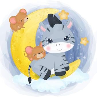 Urocza mała zebra i myszy ilustracja w akwareli