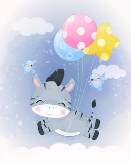 Urocza mała zebra ilustracja w akwareli