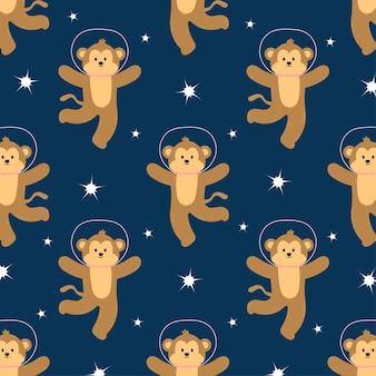 Urocza Małpa Kosmiczna W Jednolity Wzór Premium Wektorów