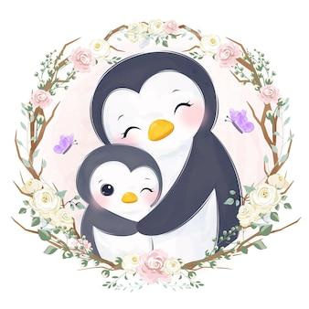 Urocza mama i mały pingwin na ilustracji akwarela