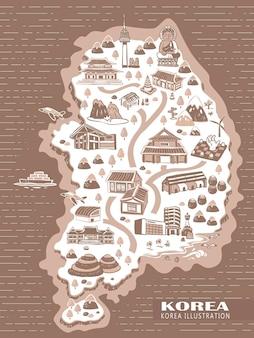 Urocza mapa koncepcyjna podróży korei w ręcznie rysowane stylu