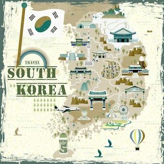 Urocza mapa podróży do korei południowej w płaskim stylu