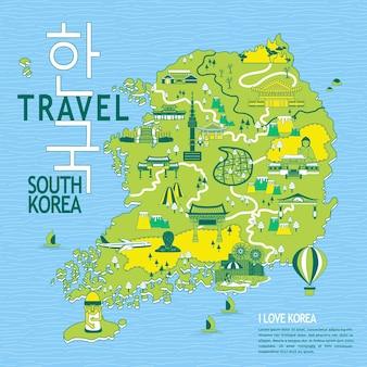 Urocza mapa podróży korei południowej - korea w koreańskich słowach w lewym górnym rogu