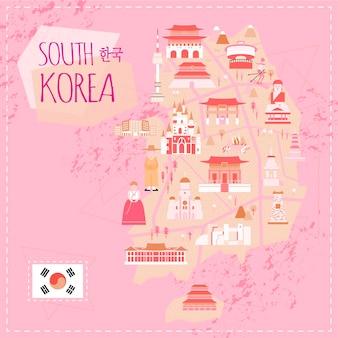 Urocza mapa podróży korei południowej w płaskim stylu - korea w koreańskich słowach w lewym górnym rogu