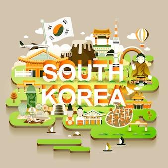 Urocza mapa podróży korei południowej w stylu izometrycznym 3d