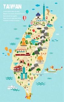 Urocza mapa podróży tajwanu w stylu płaskiej konstrukcji