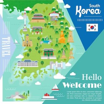 Urocza mapa turystyczna korei południowej z kolorowymi atrakcjami