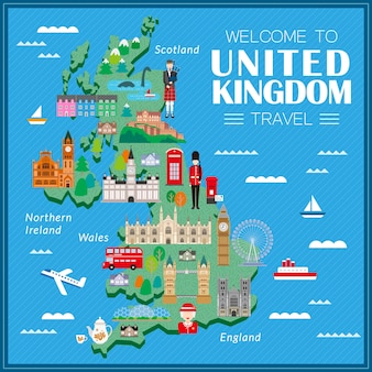 Urocza mapa turystyczna wielka brytania z atrakcjami
