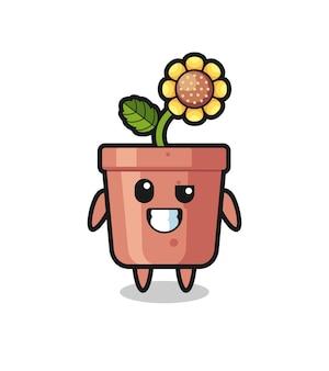 Urocza maskotka doniczki słonecznika z optymistyczną twarzą, ładny styl na koszulkę, naklejkę, element logo