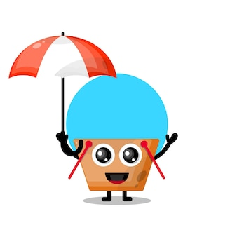 Urocza maskotka na zakupy z parasolem