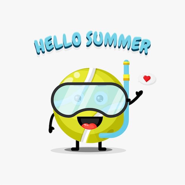 Urocza maskotka piłka tenisowa ubrana w sprzęt do nurkowania z letnimi pozdrowieniami